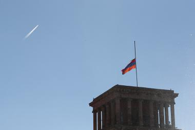 The Armenian flag was flown on the national mourning day declared in Armenia on Charles Aznavour's funeral day who passed away at the age of 94 - Photolure News Agency