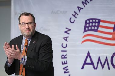 U.S. Ambassador to Armenia Richard Mills gives a press conference summarizing his diplomatic mission in Armenia at the Armenia Marriott Hotel - Photolure News Agency