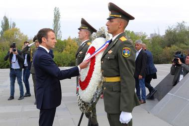 President of France Emmanuel Macron pays a visit to the Armenian Genocide memorial complex within the framework of his visit to Yerevan, Armenia - Photolure News Agency
