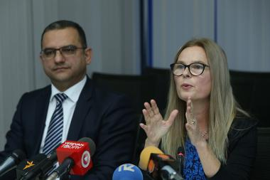 Country Manager of the World Bank for Armenia Sylvie Bossoutrot and Acting RA Minister of Economic Development and Investment Tigran Khachatryan presented the report under the title of 'Doing Business 2019' at the Yerevan Plaza BC - Photolure News Agency