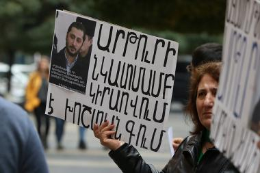 A rally in support of the freedom fighter of Kessab self-defensive battles Artur Vardanyan took place in front of the RA Government's building - Photolure News Agency