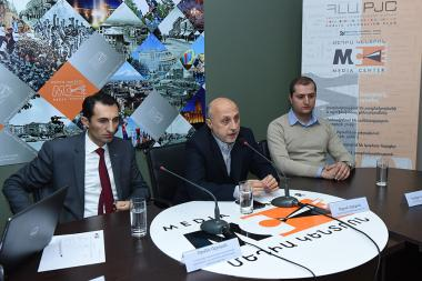 Director of 'Armenia's Little Singers' choir Tigran Hekekyan, head of the Agency for History and Monuments Protection of the Ministry of Culture Armen Abroyan and member of the RA Urban Development Committee Davit Nahatakyan gave a press conference at the Media Center - Photolure News Agency