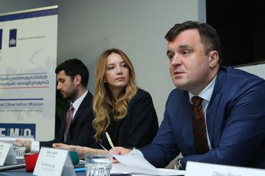 Head of the European Network of Election Monitoring Organizations Zlatko Vujovic, deputy head of the organization David Kankia, legal expert Oleg Reut and coordinator Maja Milikic gave a press conference at DoubleTree by Hilton Hotel - Photolure News Agency