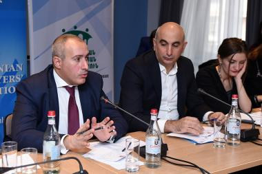 Karen Zadoyan holds an opening speech during the third forum of the Armenian CSO Anti-Corruption Coalition at Ibis Hotel - Photolure News Agency