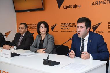 A press conference on the topic of the RA Prime Minister's possible decision on pardoning Mher Yenokyan, who was condemned for the murder of 19-year-old student of the Medical University Iosif Aghajanov, took place at Sputnik Armenia press center - Photolure News Agency