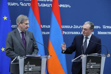 RA Minister of Foreign Affairs Zohrab Mnatsakanyan and European Commissioner for European Neighbourhood Policy and Enlargement Negotiations Johannes Hahn gave a joint press conference - Photolure News Agency