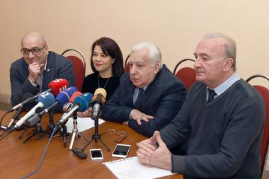 Gagik Manasyan, Georgi Isahakyan, singer Anna Mayilyan and conductor Ruben Asatryan gave a press conference ahead of the 'Tigran The Great' opera's premiere at the Arno Babajanyan Concert Hall - Photolure News Agency