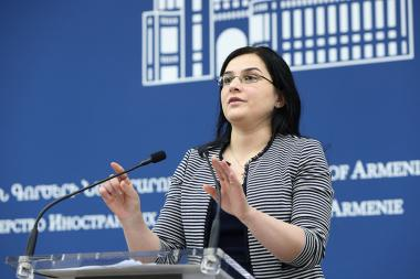 Spokesperson of the RA Ministry of Foreign Affairs Anna Naghdalyan holds a briefing - Photolure News Agency