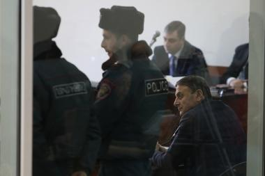 Chief of the RA Police Valeri Osipyan gives witness during the hearings of 'Sasna Tsrer' group's case at the First Instance Court of Shengavit Administrative District of Yerevan, Armenia - Photolure News Agency