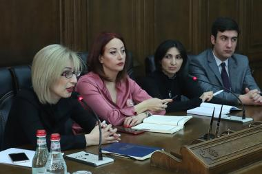 Members of the RA National Assembly's 'My Step' faction Sos Avetisyan, Taguhi Ghazaryan and Gayane Abrahamyan gave a press conference at the RA NA - Photolure News Agency