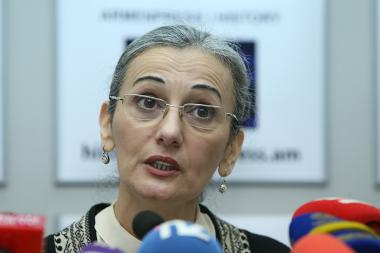 Acting RA Minister of Culture Nazeni Gharibyan gave a press conference at 'Armenpress' state news agency - Photolure News Agency