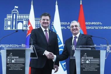 RA Minister of Foreign Affairs Zohrab Mnatsakanyan and OSCE Chairman-in-Office, Foreign Minister of Slovakia Miroslav Lajčák gave a joint press conference - Photolure News Agency