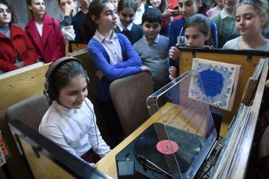 Garage Vinyl Store donated multifunctional players for vinyl records at the National Children's Library named after Khnko Aper in Yerevan, Armenia - Photolure News Agency