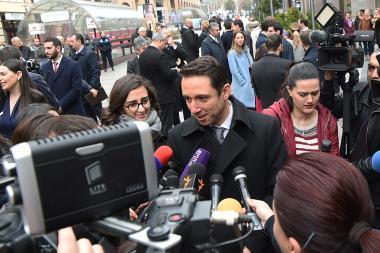 Mayor of Yerevan Hayk Marutyan speaks to the journalists on the Northern Avenue of Yerevan, Armenia - Photolure News Agency