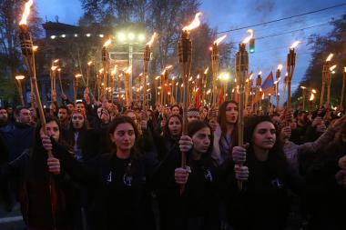 Torchlight procession took place from Liberty Square heading to the Armenian Genocide memorial complex - Photolure News Agency