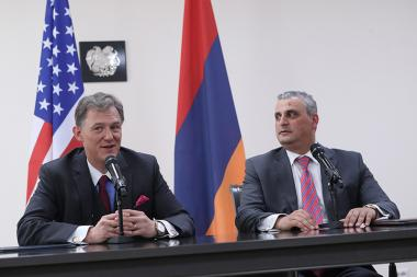 Deputy Foreign Minister Grigor Hovhannisyan and Deputy Assistant Secretary in the European and Eurasian Bureau at the U.S. Department of State George Kent hold briefing after the Armenia-US Strategic Dialogue sitting in Yerevan, Armenia - Photolure News Agency
