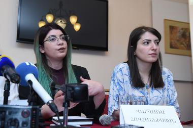 General director of Golden Apricot Yerevan International Film Festival Hasmik Hovhannisyan, designer of the GAIFF official logo William Karapetyan and head of the International Department of the GAIFF gave a press conference at Ani Plaza Hotel - Photolure News Agency