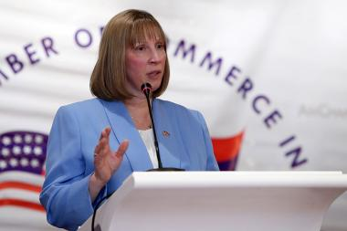 U.S. Ambassador to Armenia Lynne M. Tracy delivers a speech presenting the activities and programs of the Embassy at the Armenia Marriott Hotel - Photolure News Agency
