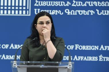 Spokesperson of the Foreign Ministry of Armenia Anna Naghdalyan holds a briefing - Photolure News Agency