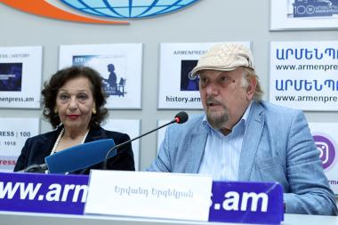 French-Armenian singer Rosy Armen and composer Yervand Yerznkyan gave a press conference in 'Armenpress' state news agency ahead of Rosy Armen's jubilee concert in Yerevan, Armenia - Photolure News Agency