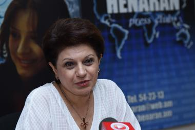 RPA Women's Council Chairperson Karine Achemyan gives a press conference in Henaran press club - Photolure News Agency