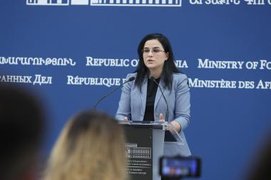 Spokesperson of the RA Foreign Ministry Anna Naghdalyan holds a briefing at the RA MFA - Photolure News Agency
