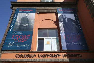 An exhibition under the title of 'Komitas-Tumanyan' dedicated to the 150th anniversary of the great Armenians opened at the RA Artists' Union - Photolure News Agency