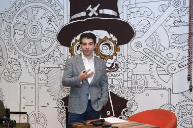 Artistic director and principal conductor of the Armenian State Symphony Orchestra Sergey Smbatyan gives a press conference at 'BURO' - Photolure News Agency
