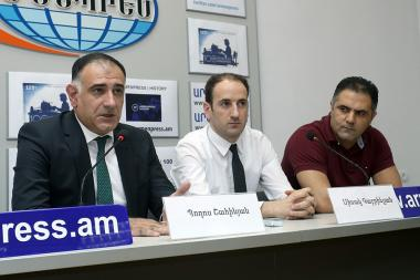 MP Sisak Gabrielyan, head of the National Road Safety Council NGO Poghos Shahinyan and Levon Harutyunyan gave a press conference at Armenpress state news agency - Photolure News Agency