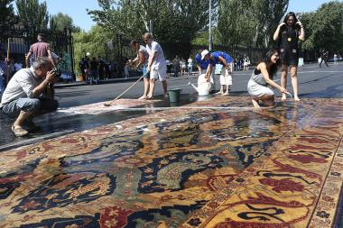 A carpet washing ceremony took place on Baghramyan Avenue of Yerevan, Armenia - Photolure News Agency