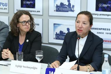 Lieutenant governor of California Eleni Kounalakis and Chairperson of the ANCA Western Region Nora Hovsepian gave a press conference at 'Armenpress' state news agency - Photolure News Agency