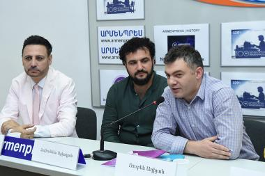 Representatives of the 'Unison Duet Music Production' gave a press conference at 'Armenpress' state news agency - Photolure News Agency