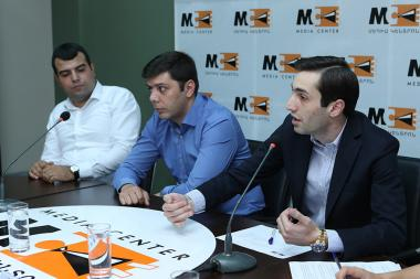 Member of the Yerevan City Council's 'My Step' faction Hayk Hovhannisyan, David Khajakyan from 'Luys' faction and Markos Harutyunyan from Prosperous Armenia faction gave a press conference at the Media Center - Photolure News Agency
