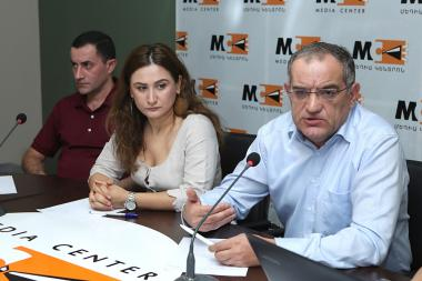 Member of the Supreme Judicial Council Vigen Kocharyan, member of the RA NA 'My Step' faction Arusyak Julhakyan and advocate Mushegh Shushanyan gave a press conference at the Media Cente - Photolure News Agency
