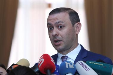 Security Council Office Secretary Armen Grigoryan holds a briefing after the RA Government's session - Photolure News Agency