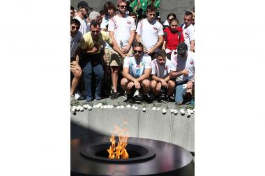 Participants of the 7th Pan-Armenian Summer Games paid a visit to the Armenian Genocide memorial complex - Photolure News Agency