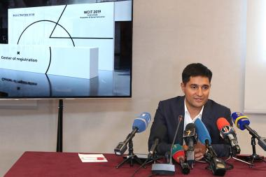 Chairman of the Union of Advanced Technology Enterprises Alexander Yesayan announced the keynote speakers of the WCIT 2019 IT World Conference during a press conference at the Armenia Marriott Hotel - Photolure News Agency