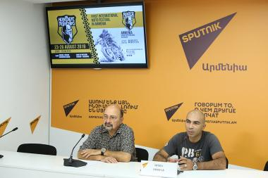 Director of 'Biker Zone' company Artak Rshtuni gave a press conference dedicated to the first 'Impulse in the Mountains' international bike festival at the Sputnik Armenia press center - Photolure News Agency