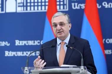 RA Minister of Foreign Affairs Zohrab Mnatsakanyan gives a press conference at the RA MFA - Photolure News Agency