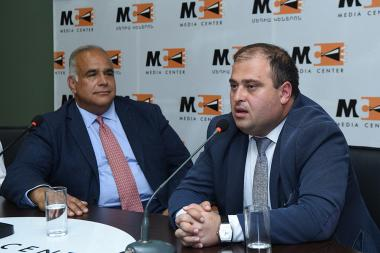 Chairman of the Heritage Party's board Raffi Hovhannisyan and Andranik Grigoryan are guests at the Media Center - Photolure News Agency