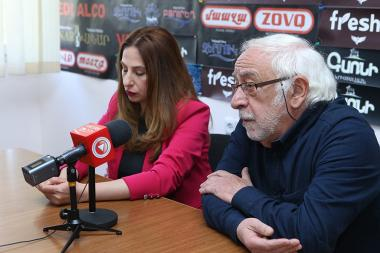 Leader of Ramkavar-Azatakan (Liberal-Democratic) Party Hakob Avetikyan and Zaruhi Postanjyan are guests in Hayeli press club - Photolure News Agency