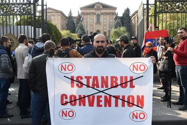 People hold a protest action against the Istanbul Convention in front of the RA National Assembly - Photolure News Agency