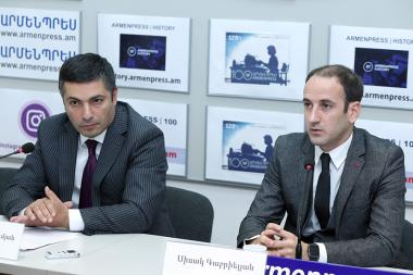 MP Sisak Gabrielyan and Advisor to the Mayor of Yerevan Karen Hambardzumyan are guests at 'Armenpress' state news agency - Photolure News Agency