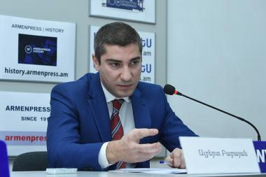 Acting Director of National Institute of Standards Albert Babayan gave a press conference at 'Armenpress' state news agency - Photolure News Agency