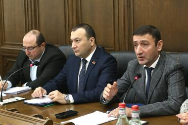 Head of the Armenian delegation to the Parliamentary Assembly of the Black Sea Economic Cooperation (PABSEC) Babken Tunyan gave a press conference at the RA National Assembly - Photolure News Agency