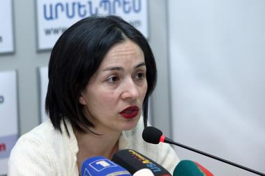 Deputy Minister of Labor and Social Affairs Zhanna Andreasyan gives a press conference - Photolure News Agency