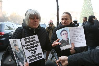 Mothers of soldiers who died in army hold a protest action in front of the RA Government building - Photolure News Agency