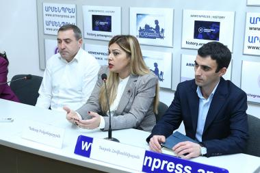 Iranologist Gohar Iskandaryan, Arabologist Sargis Grigoryan and Azerbaijani expert Taron Hovhannisyan are guests in 'Armenpress' state news agency - Photolure News Agency