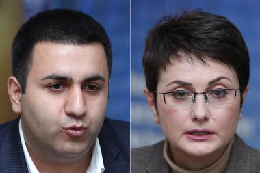 Media expert Lilit Tumanyan and President of Public Control Center NGO Babken Harutyunyan are guests in Henaran press club - Photolure News Agency