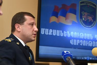 Head of the State Anti-Smuggling Department of the RA State Revenue Committee Vardan Vardanyan gave a press conference at the SRC administrative building - Photolure News Agency
